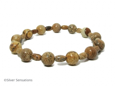 Beige & Brown Picture Jasper Beads Stretch Bracelet